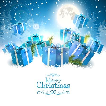 Kerst cadeau dozen in de sneeuw - Kerst wenskaart