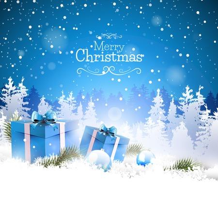 Scatole regalo di Natale sulla neve con il paesaggio innevato sullo sfondo