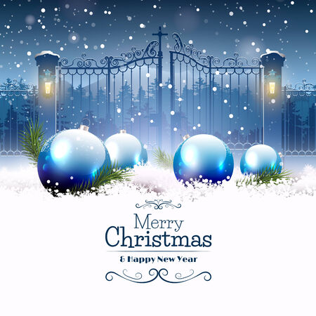 Luxury Christmas greeting card with blue baubles in the snow and open gate on the background Vectores