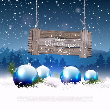 Christmas greeting card with blue baubles in the snow and wooden sign Vector