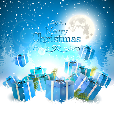 Christmas gift boxes in the snow - Christmas greeting card Vector