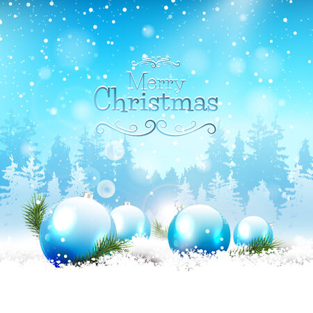 Christmas baubles in the snow - Christmas greeting card Vector