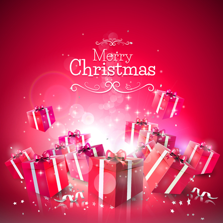 Luxury Christmas greeting card with red gift boxes on red background Vector
