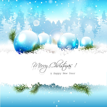 copyspace: Christmas baubles in the snow - Christmas greeting card