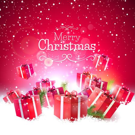 Contenitori di regalo rossi nella neve - Di lusso biglietto di auguri di Natale Archivio Fotografico - 31257047