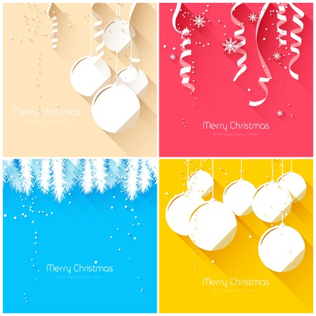 Elegant Christmas greeting cards - flat design style Vector