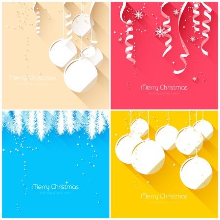 Elegant Christmas greeting cards - flat design style Illustration
