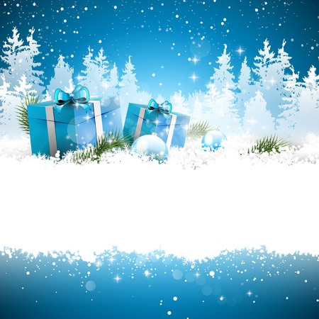 estrella azul: Cajas de regalo de Navidad en la nieve con el paisaje cubierto de nieve en el fondo - tarjeta de felicitaci�n con el lugar de texto