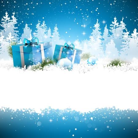 christmas star: Scatole regalo di Natale sulla neve con il paesaggio innevato sullo sfondo - biglietto di auguri con il posto per il testo