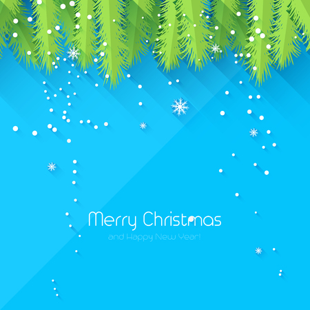 pine boughs: Christmas blue greeting card - flat design style
