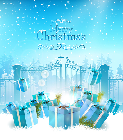chrismas background: Chrismas greeting card with blue gifts in the snow and open gate on the background