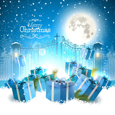 Christmas gifts in the snow in front of the open gate - Christmas greeting card Vector