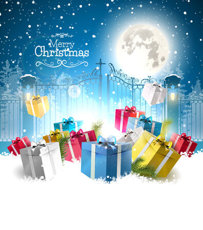 Christmas gifts in the snow in front of the open gate - Christmas greeting card Vectores