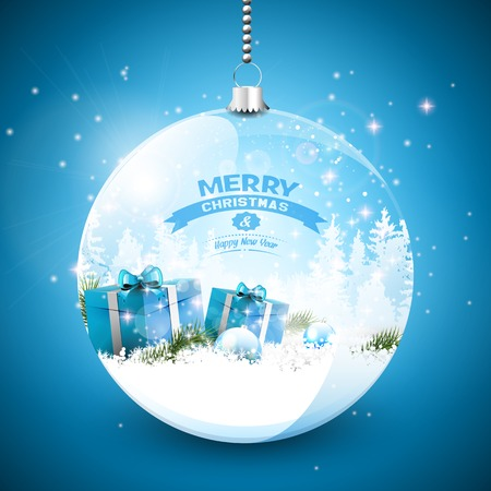 blue star background: Snowy landscape with Christmas gifts in the snow in a glass bauble Illustration