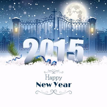 behang blauw: Gelukkig Nieuwjaar 2015 - viering wenskaart