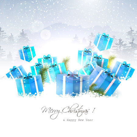 Christmas gift boxes in the snow with snowy landscape on the background Vector