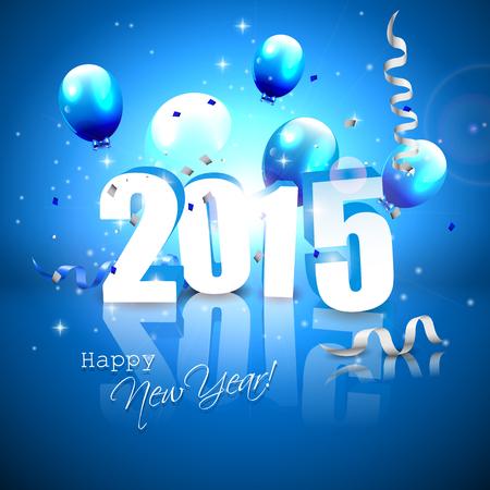 nieuwjaar: Gelukkig Nieuwjaar 2015 - blauwe wenskaart met 3D-nummers