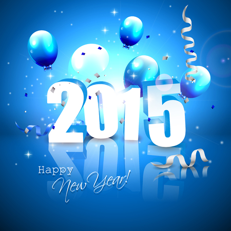 Happy New Year 2015 - blue greeting card with 3D numbers