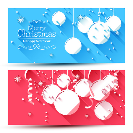 christmas backgrounds: Vector set of modern Christmas banners - flat design style   Illustration