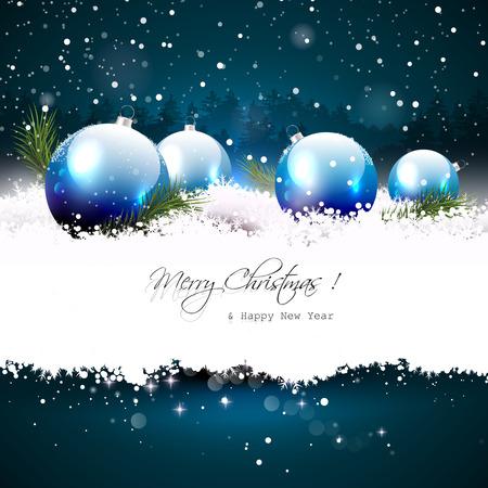 background: Carte de voeux de Noël avec des boules et des branches dans la neige