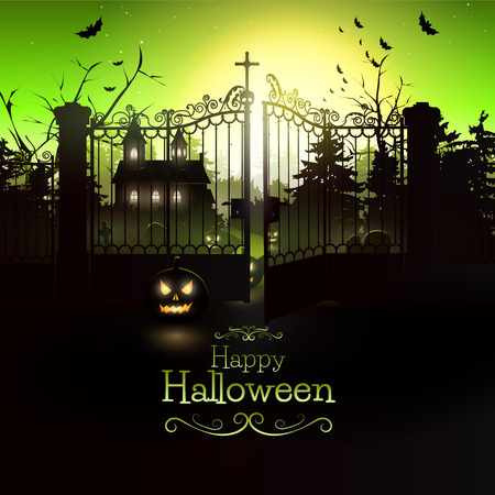 graveyard: Scary church in the woods - Halloween flyer