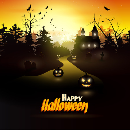 Scary church and graveyard in the woods Vector