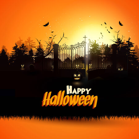 Haunted graveyard in the woods - Halloween greeting card     Vector