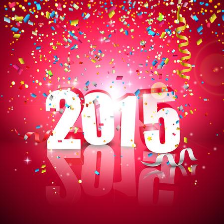 nieuwjaar: Gelukkig Nieuwjaar - kleurrijke wenskaart met dalende confetti Stock Illustratie