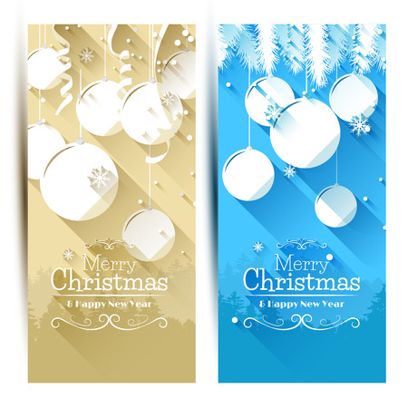 Vector set of modern Christmas banners - flat design style   Vector