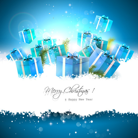 Christmas background with gift boxes in the snow and place for text