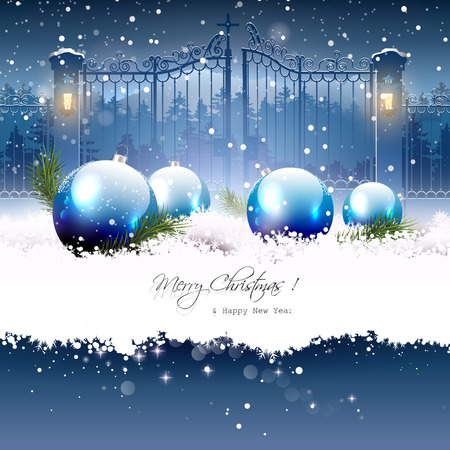 dark blue: Christmas greeting card with blue gifts in the snow and open gate on the background Illustration