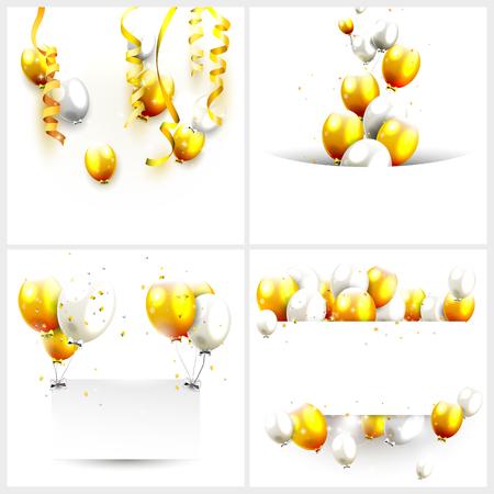 Luxe verjaardag achtergronden met gouden en zilveren ballonnen en plaats voor uw bericht Stock Illustratie