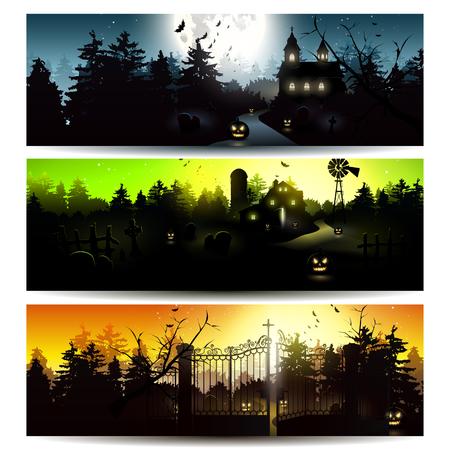 Vector set of three Halloween horizontal banners  Vectores