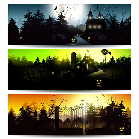 horizontal: Vector set of three Halloween horizontal banners