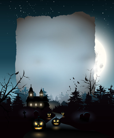 Scary church in the woods - Halloween background with empty paper for your text