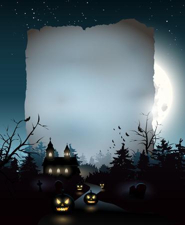 Scary Kirche in den Wald - Halloween Hintergrund mit leeren Papier für Ihren Text Standard-Bild - 31868533