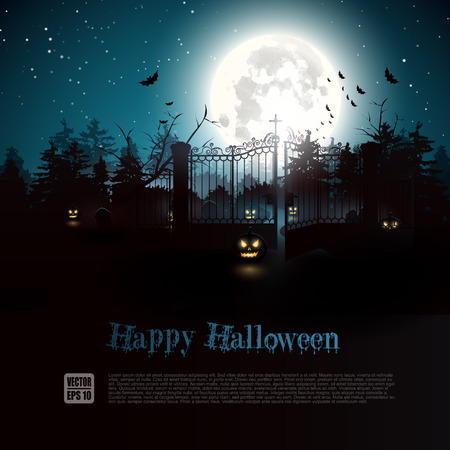 poster background: Cimitero spaventoso nel bosco - Sfondo di Halloween