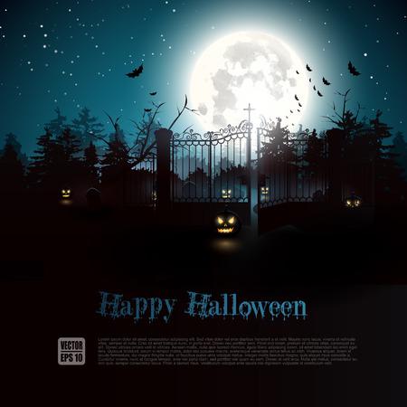 background herfst: Scary nacht in het bos - Halloween achtergrond