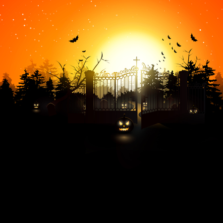Scary graveyard in the woods - Halloween background   Vector