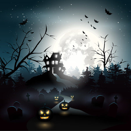 Scary house and graveyard in the woods - Halloween background   Vector