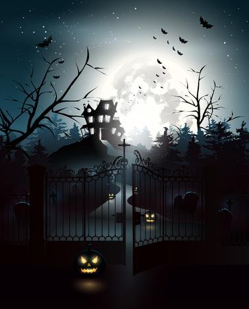portones: Casa de miedo y el cementerio en el bosque - fondo de Halloween Vectores