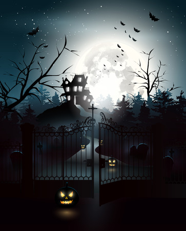 Scary house and graveyard in the woods - Halloween background