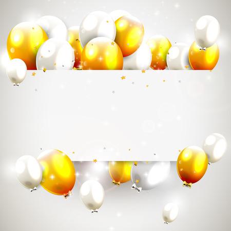 Luxe verjaardag achtergrond met gouden en zilveren ballonnen en plaats voor uw bericht Stock Illustratie