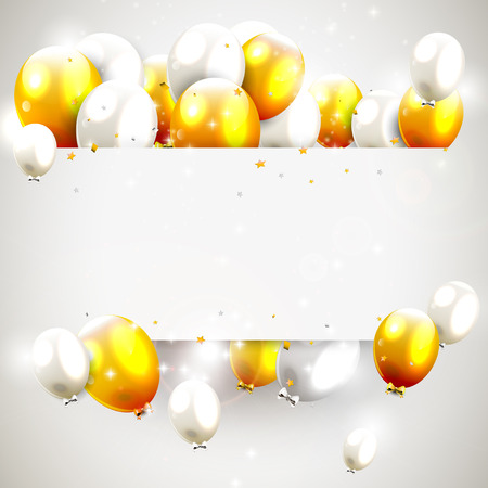 compleanno: Sfondo di compleanno con palloncini di lusso in oro e argento e il luogo per il vostro messaggio