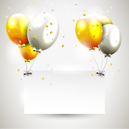 Luxury birthday background with gold and silver balloons and place for your message Vector