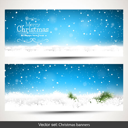 Set of two horizontal Christmas banners with snow and place for text 向量圖像