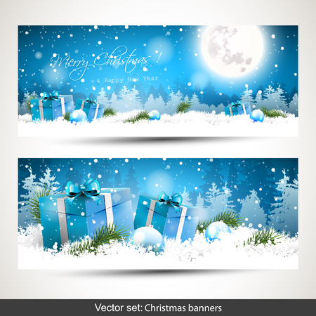 Set of two horizontal Christmas banners with gift boxes in the snow and snowy landscape on the background Vectores
