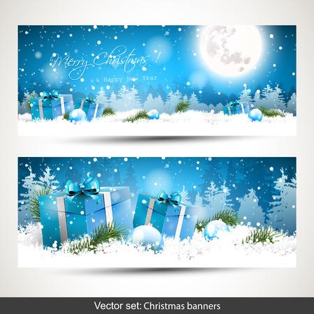 felicitaciones navide�as: Conjunto de dos banderas de la Navidad horizontal con cajas de regalo en la nieve y el paisaje cubierto de nieve en el fondo