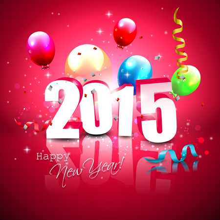 new year: Happy new Year- colorful greeting card with flying balloons
