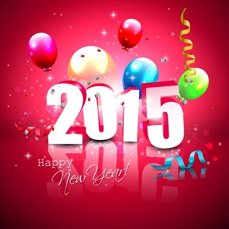 nieuwjaar: Happy new Year- kleurrijke wenskaart met vliegende ballonnen